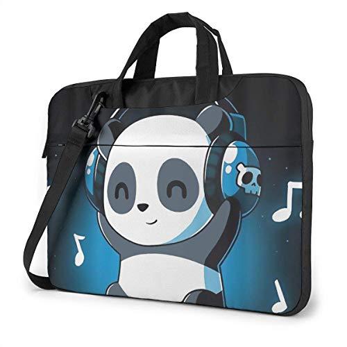 Shockproof Laptop Bag Cute Pan-da Listening Music Computer Bag Durable Case Sleeve 360 iexcl; atilde; Protective Briefcase