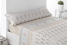 Juego de sábanas Estampadas de Microfibra Transpirable Mod. Corpia (Disponible en Varios tamaños y Colores) (Beige, Cama de 135 cm (135_x_190/200 cm))