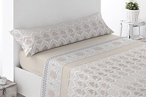 Juego de sábanas Estampadas de Microfibra Transpirable Mod. Corpia (Disponible en Varios tamaños y Colores) (Beige, Cama de 150 cm (150_x_190/200 cm))