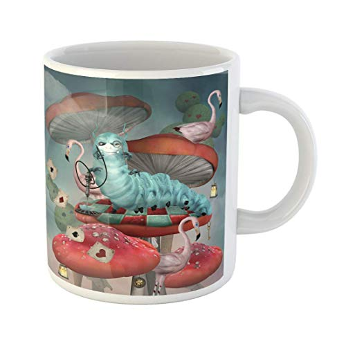 Taza de café Serie del país de las maravillas Caterpillar fuma cachimba sobre hongos en un paisaje de cuento de hadas Tazas de café de cerámica de 11 onzas Taza de té