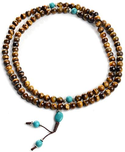 BUDDHAFIGUREN/Billy Held Mala de ojo del tigre con turquesa, rosario budista con cadena de perlas de 9 mm