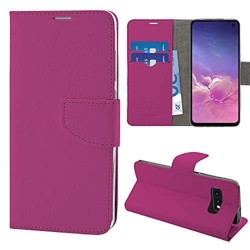 NewTop Cover Compatibile per Samsung Galaxy S10/Plus/S10E, HQ Lateral Custodia Libro Flip Magnetica Portafoglio Simil Pelle Stand (per S10E, Fucsia)