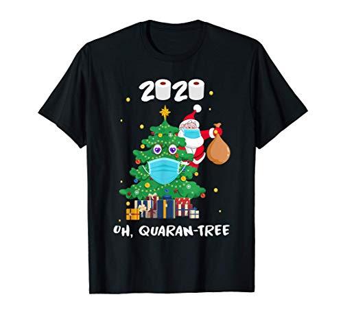 Funny Quarantine Christmas Tree Ornament, Santa Face Mask T-Shirt