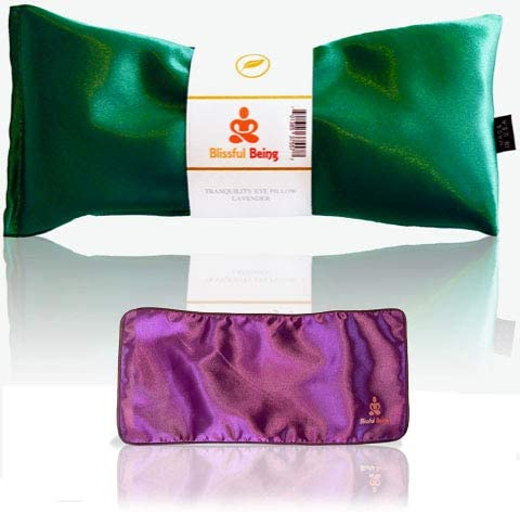 Blissful Being Lavender Eye Pillow with Purple Satin Cover Hot or Cold Aromatherapy Eye Pillow product image
