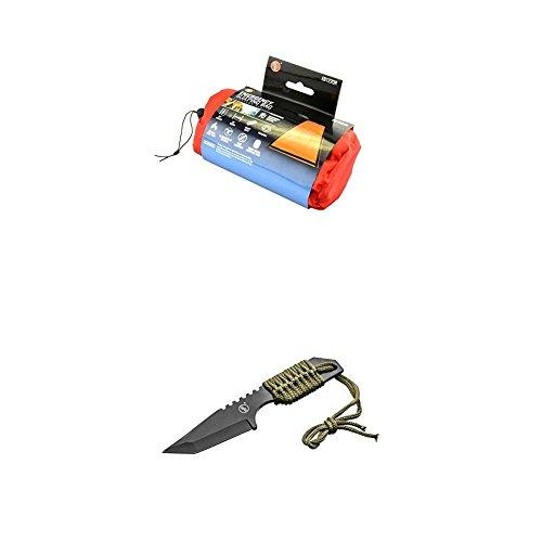 SE EB122OR Emergency Sleeping Bag Kit with Drawstring Carrying Bag, Orange, Survial Blanket with Knife