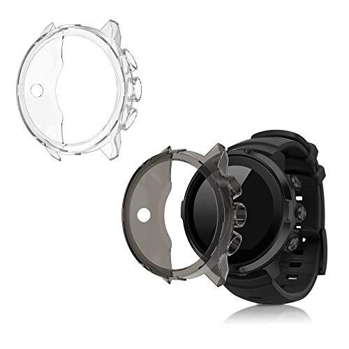 kwmobile 2X Carcasa Compatible con Suunto 9/9 Baro/Spartan Sport Wrist HR - Funda para Fitness Tracker en Transparente/Negro/Transparente