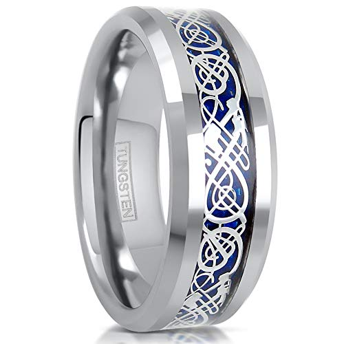 King's Cross Gorgeous 6mm/8mm Silver Tungsten Carbide Wedding Band w/Silver Celtic Dragon Inlay on Beautiful Royal Blue Background. (Tungsten (8mm), 9.5)