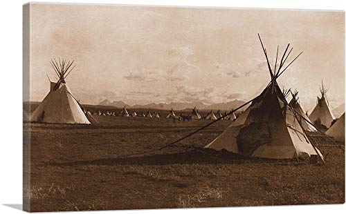 ARTCANVAS North American Indian Piegan Encampment 1900 Canvas Art Print by Edward S. Curtis - 40' x 26' (1.50' Deep)