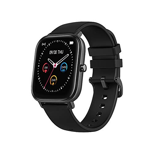 DCU TECNOLOGIC Smartwatch quadrato curved glass braccialetto di attività IP67 con cardiofrequenzimetro e monitoraggio della pressione sanguigna, Nero