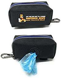 Pawfessor Dion s Dog Poop Bag Holder Leash Attachment, Includes 1 Roll of Poop Bags, Waste Bag Dispenser, Lightweight Fabric, Walking, Running or Hiking Accessory