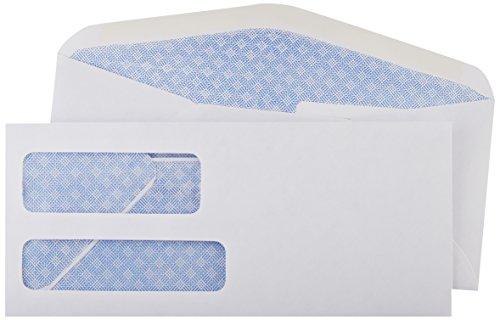 Amazon Basics #9 Double Window Security Tinted Envelopes, White, 500 ct