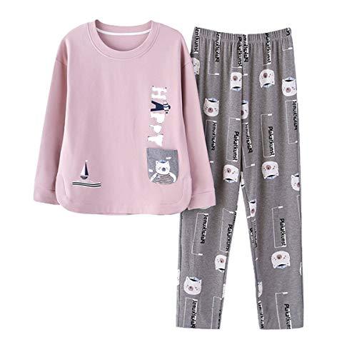 GOSO Pijama para niñas 8 9 10 11 12 13 – 14 años Lindo Pijama para Adolescentes con Estampado de Dibujos Animados Tops y Pantalones Largos Big Tween Girl Nightwear Set