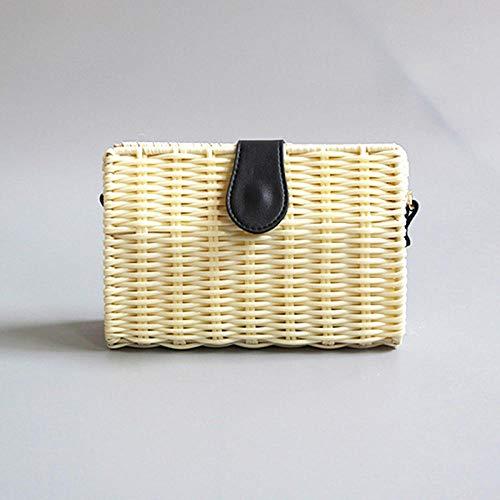 Sac Paille Sac De Paille Portable Shuolder pour Femme Exquis Fait À La Main Bricolage Tissé Contraste Quotidien Couleur Couture Sac De Paille B