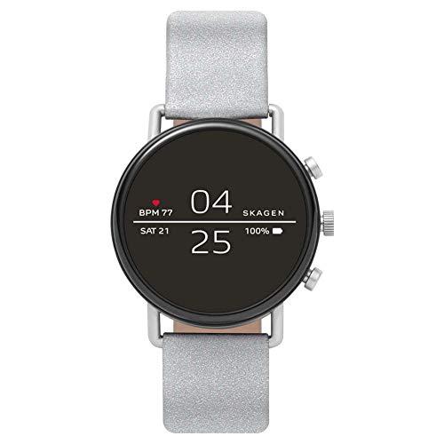 Skagen Falster 2 Smartwatch Unisex con Correa de Tela Plateada refelctante SKT5110