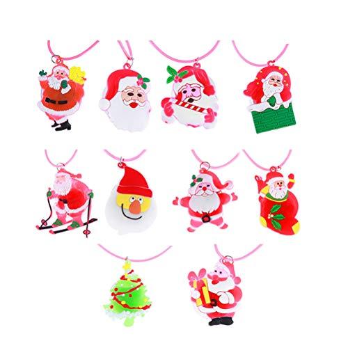 TOYMYTOY Collana con ciondolo a forma di corda di Natale, con luci LED, per bambini, 12 pezzi (stile misto)