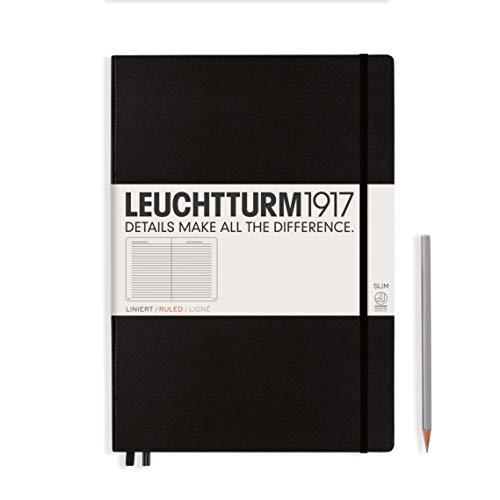 LEUCHTTURM1917 334917 Notizbuch Master Slim (A4+), Hardcover, 123 nummerierte Seiten, Schwarz, liniert