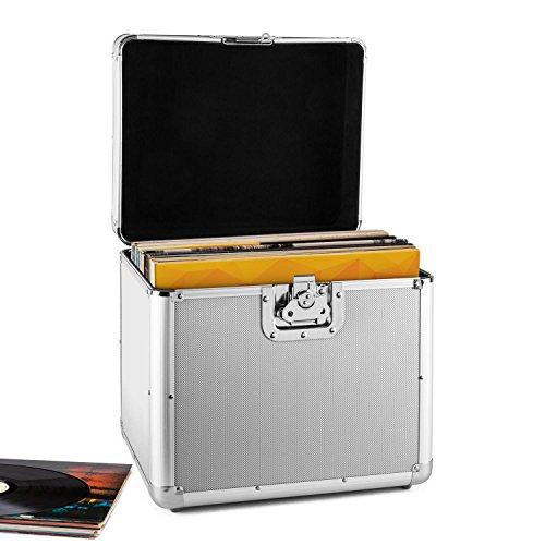 resident dj Zeitkapsel - Plattenkoffer, Aluminium-Koffer, Vinyl-Case, Schallplattenkoffer, für 70 LP, Klappdeckel, Aluminium-Profile, Schutzkanten, Schutzecken, Metallscharniere, silber