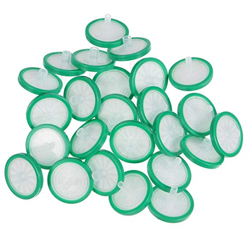 ibasenice 25pcs Syringe Filter,Syringe Lab Filters,Hydrophilic Nylon Membrane 25mm Diameter 0.22um Pore Size,Non Sterile Filtration,Green