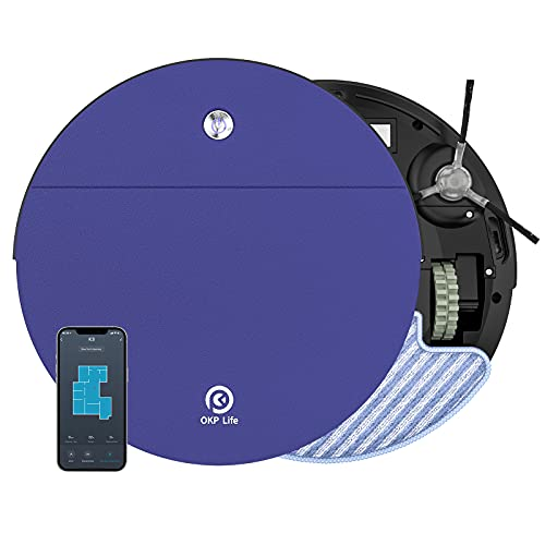 OKP Robot Vacuum and Mop, 2 in 1 Robotic Vacuum with 2000pa Strong Suction,WiFi-Connected and Self-Charging for Pet Hair Carpet and Hardfloor