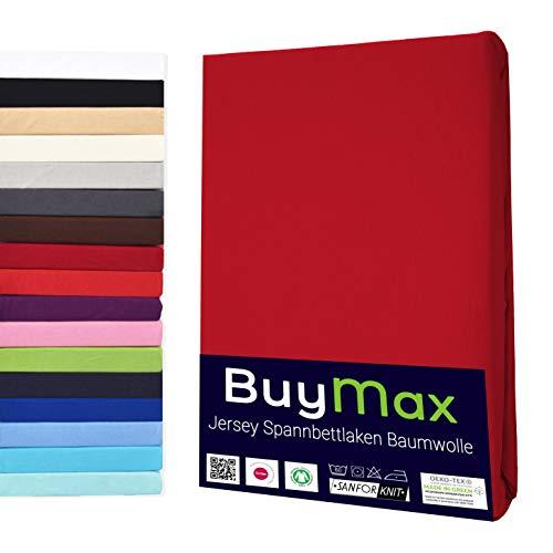 Buymax Spannbettlaken 180x200-200x200 cm Spannbetttuch Bettlaken 100% Baumwolle Jersey Bettbezug für Matratzen bis 25 cm Steghöhe, Rot