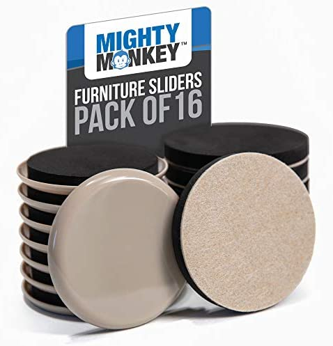 MIGHTY MONKEY Premium Furniture Sliders 16 Piece Carpet and Hard Floor Surfaces Moving Kit Felt product image