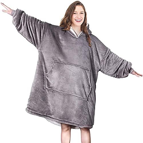Seogva Överdimensionerad sherpa-huvtröja, bärbar huvtröja sweatshirt filt, supermjuk varm bekväm filt huvtröja, en storlek passar alla, män, kvinnor, flickor, pojkar, vänner