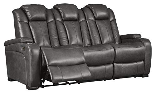 Signature Design by Ashley - Turbulance Contemporary Upholstered Power Reclining Sofa - Adjustable Headrest - Gray