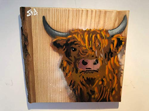 Highland Cow Stencil Painting Artwork on Ash Wood | Handmade original Christmas Gift for Her or Him | Birthday Present idea made in the UK | Picture Signed Limited Edition size 14 x 17cm