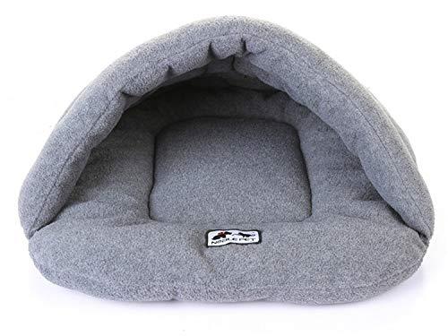 Ducomi Noble hondenhoed, middelgroot en klein en kat – bed voor honden en katten van zachte fleece, slaapzak, voor huisdieren, warm en comfortabel, voor binnen en op reis, wasbaar in de wasmachine, S, grijs.