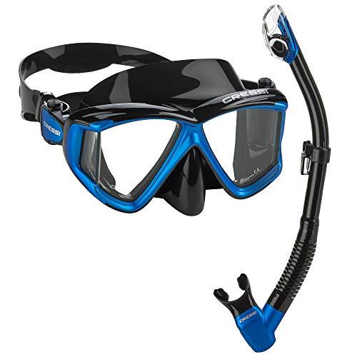 Cressi Italian Designed Liberty Quattro Panoramic View Tempered Glass Lens Premium Scuba Snorkeling Mask Dry Snorkel Set, BKBL