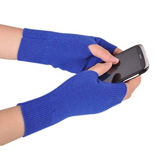NOVAWO cachemir suave cálido invierno de punto fingerless guantes para hombres mujeres