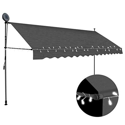 vidaXL Markise Einziehbar Handbetrieben mit LED Wasserabweisend Klemmmarkise Balkonmarkise Sonnenschutz Terrasse Balkon Garten 400cm Anthrazit