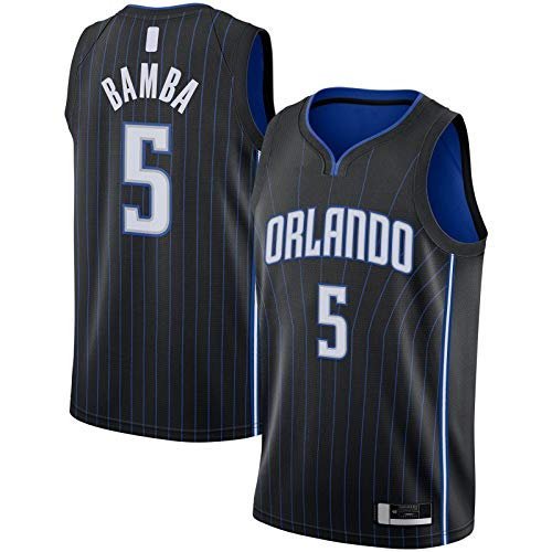 YUEJI Negro -2019/2020 Swingman Jersey Bamba Custom Orlando Basketball Jersey Magic Sweatshirt Top Sin Mangas #5 Orlando Icono EditionMohamed Icon Edition-L