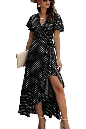 Vestido Casual de Verano para Mujer Vestidos de Playa Largos con Lunares Vintage Negro M