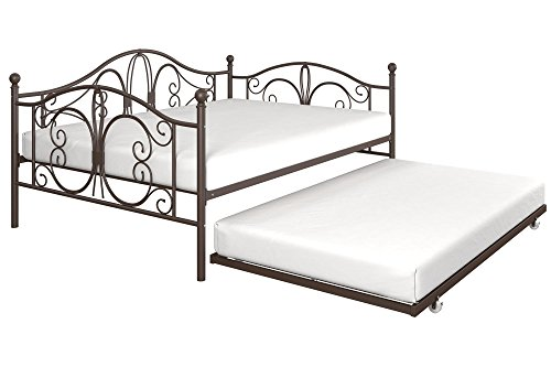 DHP Bombay Metal Full Size Daybed Frame with Included Twin Size Trundle, Bronze