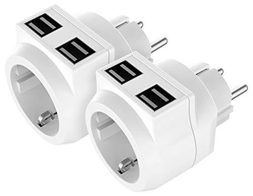 revolt USB Steckdosenadapter: 2er-Set Steckdose mit 4-fach-USB-Netzteil (3,6 A / 18 W), bis 3.680 W (Aufputz-USB-Steckdose)