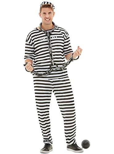 Funidelia | Disfraz de Prisionero para Hombre Talla S ▶ Ladrón, Preso, Delincuente, Profesiones - Color: Negro - Divertidos Disfraces y complementos para Carnaval y Halloween