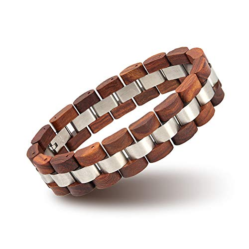 BOBO BIRD Mens Wooden Bracelet Stylish Wood & Stainless Steel Combined Wooden Bangle Jewelry Great Gift for Men (S05-2)