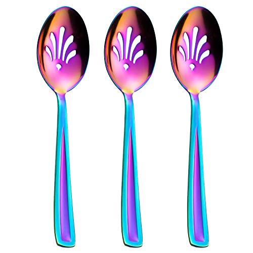 GoGeiLi Servierlöffel-Set, Regenbogenfarben, 3-teilig, Edelstahl, großer Schlitz-Servierlöffel für Kochen, Küche, Familienessen, Buffet, Bankett, spülmaschinenfest