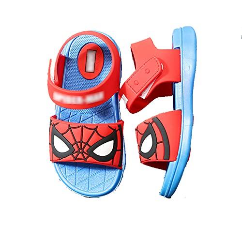 LQ-LIMAO Sandalias para niños Spiderman Opentoe Shoes Sandy Beach Zapatos Impermeables Piscina Transpirable Zapatos Atléticos Unisex Lightweight Sneaker,Blue-Kids190