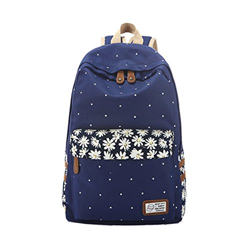 Borsa Evay Zaino Canvas Retro Style Pois fiore della margherita scuola per adolescenti femmine leggero Carino impermeabile casuale Daypack scuola zaino blu scuro