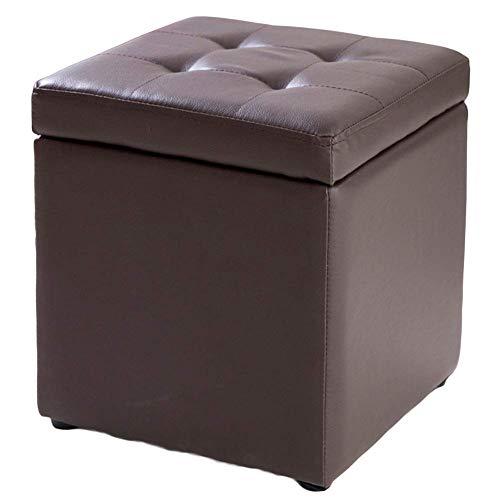 LXTIN Cube - Taburete para pies con Almacenamiento de Piel sintética, Asiento de Banco, Caja de Juguetes con bisagra, Caja organizadora Superior, Pecho, marrón, 31x31x36cm (12x12x14 Pulgadas)