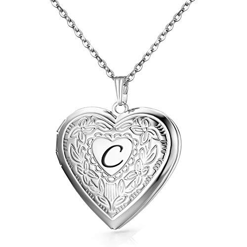 MUERDOU Locket Necklace That Holds Pictures Initial Alphabet Letter Heart Shaped Photo Memory Locket Pendant Necklaces