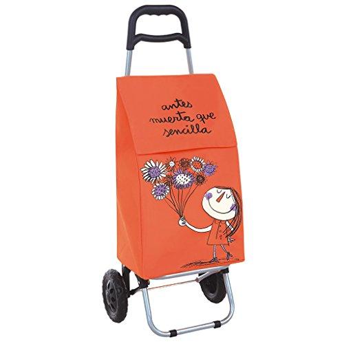 Laroom Carro Compra, Fabric y Acero Inoxidable, Naranja