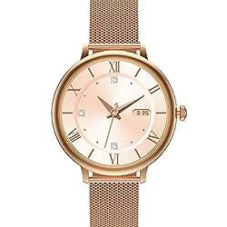 Damen Smartwatch, E21 SANAG GPS Fitness Tracker mit Pace, wasserdichte Fitnessuhr Smart Watch mit Blutsauerstoff-Monitor (Golden)