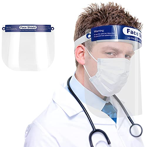 Safety Face Shields, All-Round Protection Cap with Plastic Shielding. Elastic Headband and Sponge for Comfortable Wearing. Suit for Men and Women. Anti-Fog, Anti-saliva, Indoor and outdoor.