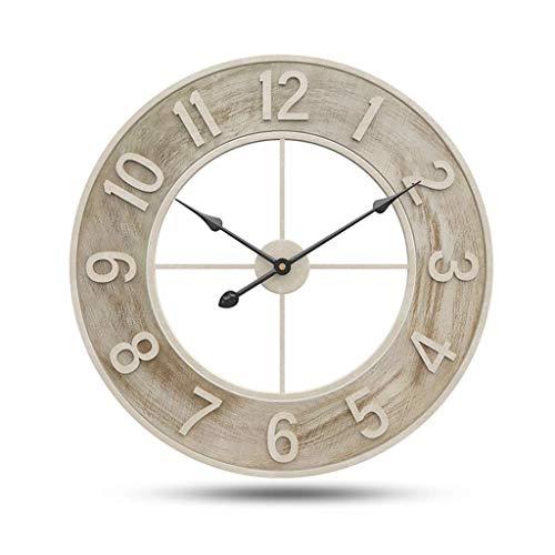 WEHOLY Wanduhr Holz 24 Zoll, Silent Große Holz Wanduhren Digitale Wanduhr Nicht Ticking Schmiedeeisen Zeiger Uhren für Nachttisch Küche Büro Vintage Home Decor