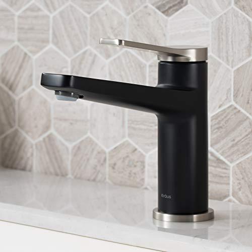 Kraus KBF-1401SFSMB Indy Single Handle Basin Bathroom Faucet, Spot Free Stainless Steel/Matte Black