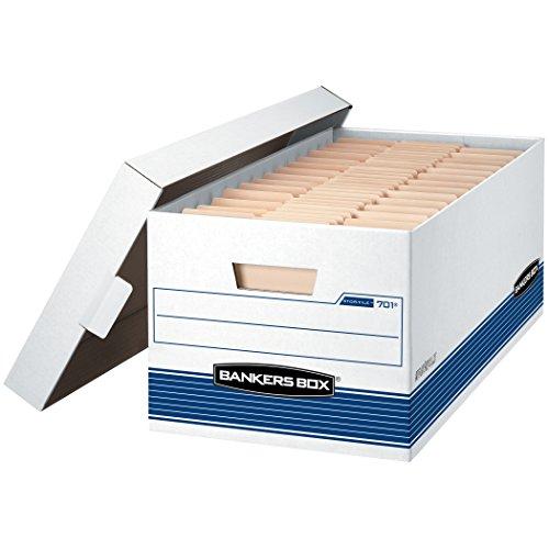 Bankers Box Datei mittelschweren Aufbewahrungsboxen mit Lift-off Deckel, Buchstabe 12-Pack weiß / blau