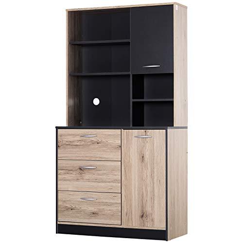 Armoire de cuisine multi-rangements 2 portes 3 tiroirs 3 étagères + grand plateau 90L x 39l x 169H cm bicolore chêne clair noir